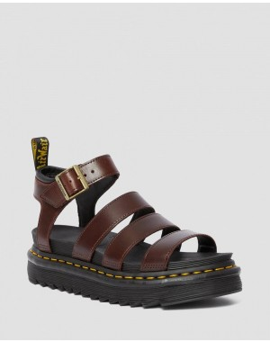 Dr.Martens BLAIRE WOMEN'S BRANDO LEATHER GLADIATOR SANDALS - CHARRO+BLACK BRANDO+SOFT PU - Sale