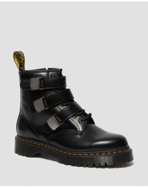 Black Friday Sale Dr. Martens 1460 FENIMORE BEX MOTO BOOTS - BLACK POLISHED SMOOTH
