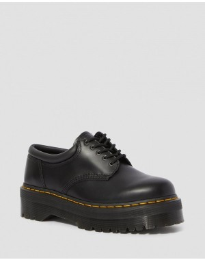 Black Friday Sale Dr. Martens 8053 LEATHER PLATFORM CASUAL SHOES - BLACK POLISHED SMOOTH