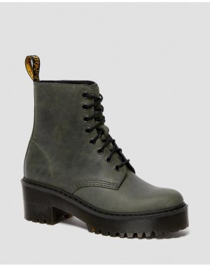 Black Friday Sale Dr. Martens SHRIVER HI WOMEN'S MOLDOVA LEATHER HEELED BOOTS - SLATE MOLDOVA