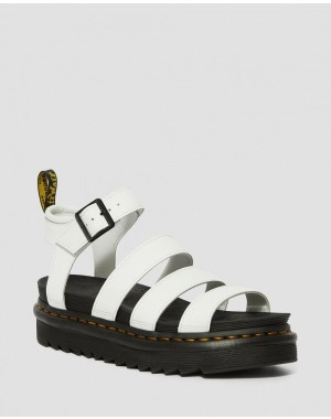 Black Friday Sale Dr. Martens BLAIRE WOMEN'S HYDRO LEATHER GLADIATOR SANDALS - WHITE HYDRO LEATHER