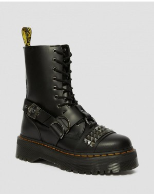 JADON HI SMOOTH LEATHER STUDDED PLATFORM BOOTS - BLACK SMOOTH