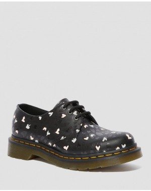 1461 LEATHER WILD HEART PRINTED OXFORD SHOES - BLACK-MULTI CUSTOM CHAOS HEARTS BACKHAND