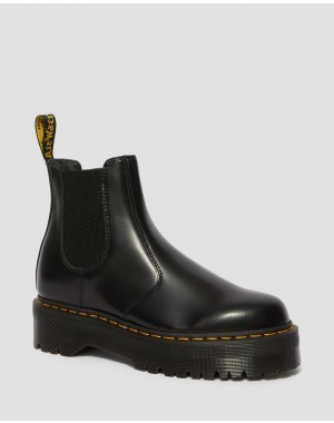 Dr.Martens 2976 POLISHED SMOOTH PLATFORM CHELSEA BOOTS - BLACK POLISHED SMOOTH - Sale