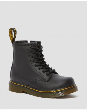 Black Friday Sale Dr. Martens TODDLER 1460 SOFTY T LEATHER LACE UP BOOTS - BLACK SOFTY T