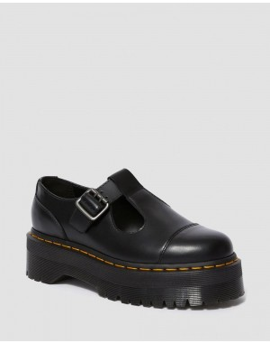 Dr.Martens BETHAN SMOOTH LEATHER PLATFORM MARY JANE SHOES - BLACK POLISHED SMOOTH - Sale