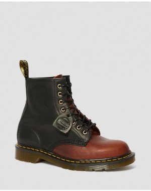 Dr.Martens 1460 MADE IN ENGLAND HORWEEN LEATHER BOOTS - BLACK+MOCHA DUBLIN - Sale