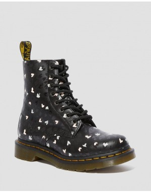 Dr.Martens 1460 PASCAL LEATHER WILD HEART PRINTED LACE UP BOOTS - BLACK-MULTI CUSTOM CHAOS HEARTS BACKHAND - Sale
