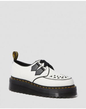 Dr.Martens SIDNEY LEATHER CREEPER PLATFORM SHOES - WHITE+BLACK POLISHED SMOOTH - Sale