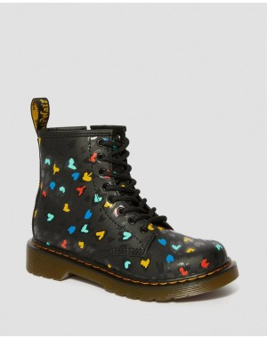 Dr.Martens JUNIOR 1460 WILD HEART PRINT LACE UP BOOTS - BLACK-MULTI HYDRO LEATHER - Sale