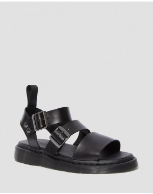 Dr.Martens GRYPHON BRANDO LEATHER GLADIATOR SANDALS - BLACK BRANDO - Sale