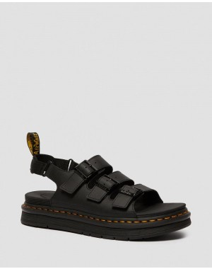Black Friday Sale Dr. Martens SOLOMAN MEN'S LEATHER STRAP SANDALS - BLACK HYDRO LEATHER