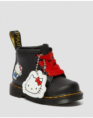 Black Friday Sale Dr. Martens INFANT 1460 HELLO KITTY LEATHER BOOTS - BLACK HYDRO LEATHER
