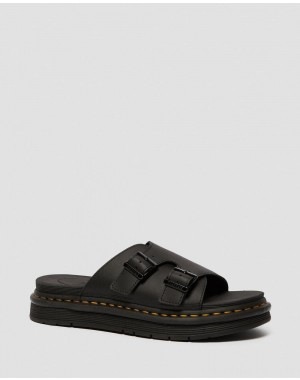 Dr.Martens DAX MEN'S LEATHER SLIDE SANDALS - BLACK HYDRO LEATHER - Sale