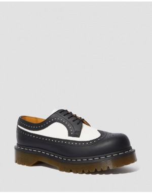 3989 BEX SMOOTH LEATHER BROGUE SHOES - BLACK+WHITE SMOOTH