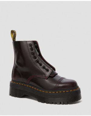 Dr.Martens SINCLAIR WOMEN'S ARCADIA LEATHER PLATFORM BOOTS - CHERRY RED ARCADIA - Sale