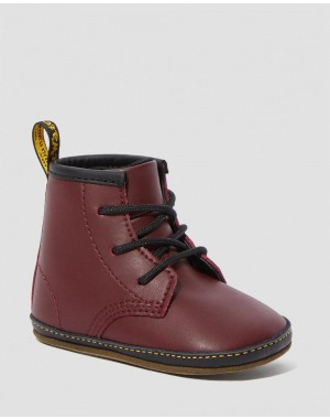 Black Friday Sale Dr. Martens NEWBORN 1460 AUBURN LEATHER BOOTIES - Red LAMPER