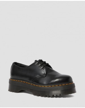 Black Friday Sale Dr. Martens 1461 SMOOTH LEATHER PLATFORM SHOES - BLACK POLISHED SMOOTH