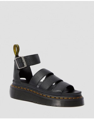 Dr.Martens CLARISSA II WOMEN'S LEATHER PLATFORM SANDALS - BLACK AUNT SALLY - Sale