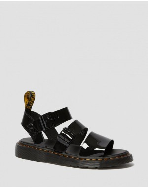 Black Friday Sale Dr. Martens GRYPHON PATENT LEATHER GLADIATOR SANDALS - BLACK PATENT LAMPER
