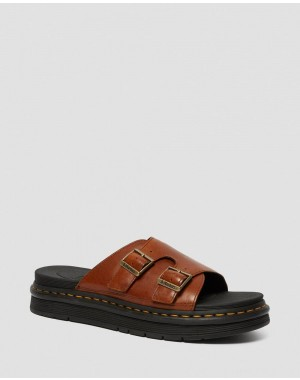 DAX MEN'S LUXOR LEATHER SLIDE SANDALS - TAN LUXOR
