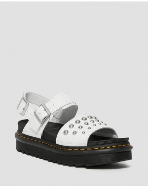 VOSS LEATHER STUDDED SANDALS - WHITE HYDRO LEATHER