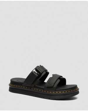 Black Friday Sale Dr. Martens CHILTON MEN'S LEATHER SLIDE SANDALS - BLACK HYDRO LEATHER
