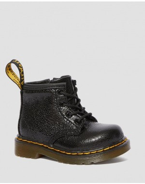 Black Friday Sale Dr. Martens INFANT 1460 CRINKLE METALLIC LACE UP BOOTS - BLACK CRINKLE METALLIC