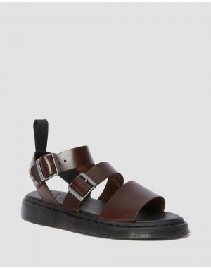 Black Friday Sale Dr. Martens GRYPHON BRANDO LEATHER GLADIATOR SANDALS - CHARRO BRANDO