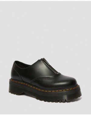 Black Friday Sale Dr. Martens AURIAN II SMOOTH LEATHER PLATFORM SHOES - BLACK POLISHED SMOOTH