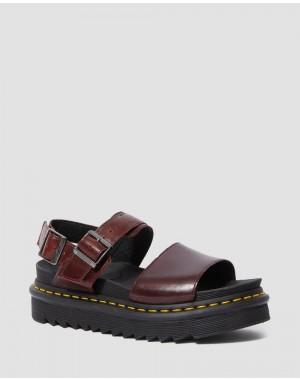 Black Friday Sale Dr. Martens VOSS WOMEN'S BRANDO LEATHER STRAP SANDALS - CHARRO BRANDO
