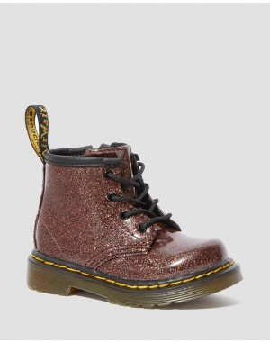 Black Friday Sale Dr. Martens INFANT 1460 GLITTER LACE UP BOOTS - ROSE BROWN COATED GLITTER