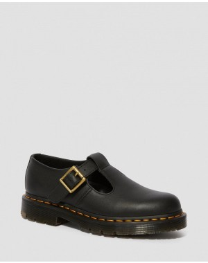 Black Friday Sale Dr. Martens POLLEY WOMEN'S SLIP RESISTANT MARY JANE SHOES - BLACK INDUSTRIAL FULL GRAIN