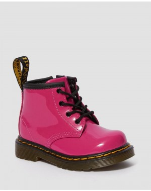 Black Friday Sale Dr. Martens INFANT 1460 PATENT LEATHER LACE UP BOOTS - HOT PINK PATENT LAMPER