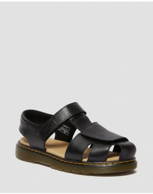 Dr.Martens YOUTH MOBY II LEATHER VELCRO SANDALS - BLACK T LAMPER - Sale