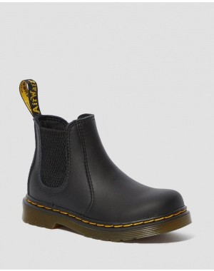 Black Friday Sale Dr. Martens INFANT/TODDLER 2976 SOFTY T LEATHER CHELSEA BOOTS - BLACK SOFTY T