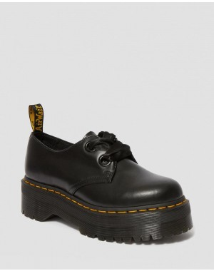 Dr.Martens HOLLY WOMEN'S LEATHER PLATFORM SHOES - BLACK BUTTERO - Sale