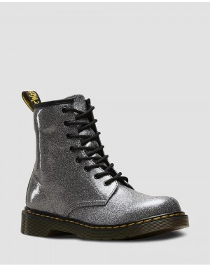 Dr.Martens YOUTH 1460 GLITTER LACE UP BOOTS - GUNMETAL COATED GLITTER - Sale
