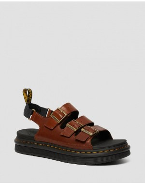 Black Friday Sale Dr. Martens SOLOMAN MEN'S LUXOR LEATHER STRAP SANDALS - TAN LUXOR