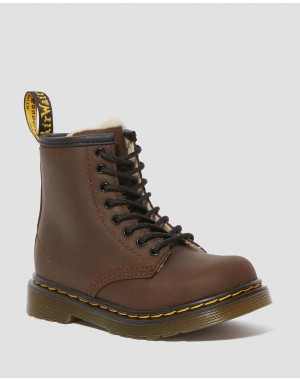 Dr.Martens TODDLER 1460 FAUX FUR LINED LACE UP BOOTS - DARK BROWN MOHAWK - Sale