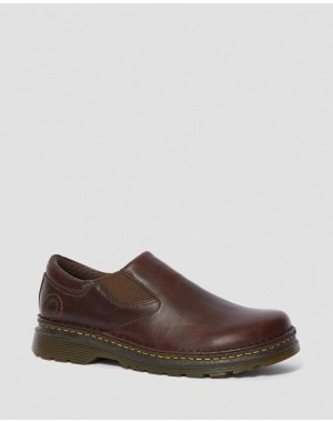 Dr.Martens ORSON MEN'S LEATHER SLIP ON SHOES - DARK BROWN OVERDRIVE - Sale