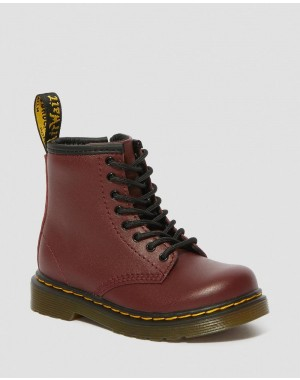 Black Friday Sale Dr. Martens TODDLER 1460 SOFTY T LEATHER LACE UP BOOTS - CHERRY RED SOFTY T