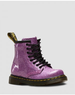 Black Friday Sale Dr. Martens TODDLER 1460 GLITTER LACE UP BOOTS - DARK PINK COATED GLITTER