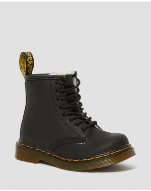 Dr.Martens TODDLER 1460 FAUX FUR LINED LACE UP BOOTS - BLACK MOHAWK - Sale