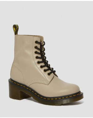 Black Friday Sale Dr. Martens CLEMENCY WOMEN'S LEATHER HEELED LACE UP BOOTS - NATURAL WANAMA
