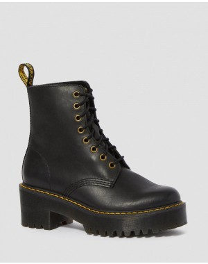 Dr.Martens SHRIVER HI WOMEN'S WYOMING LEATHER HEELED BOOTS - BLACK BURNISHED WYOMING - Sale