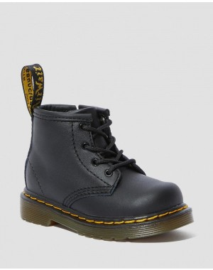 Black Friday Sale Dr. Martens INFANT 1460 SOFTY T LEATHER LACE UP BOOTS - BLACK SOFTY T