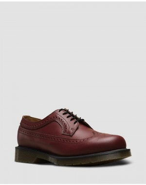 Black Friday Sale Dr. Martens 3989 SMOOTH LEATHER BROGUE SHOES - CHERRY RED SMOOTH