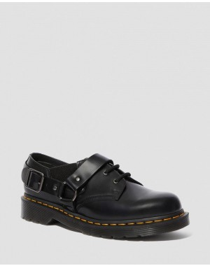 Black Friday Sale Dr. Martens FULMAR SMOOTH LEATHER BUCKLE SHOES - BLACK POLISHED SMOOTH