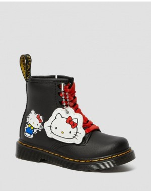 Black Friday Sale Dr. Martens TODDLER 1460 HELLO KITTY LEATHER BOOTS - BLACK HYDRO LEATHER